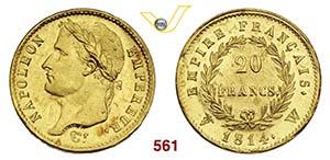 NAPOLEONE I  (1805-1814)  20 Franchi 1814 W, ...