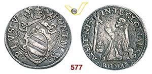 PIO V  (1566-1572)  Testone s.d., Roma.  D/ ...