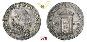 GREGORIO XIII  (1572-1585)  Testone 1575 A. ...