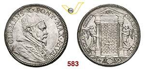 CLEMENTE X  (1670-1676)  Testone 1675 A. ...