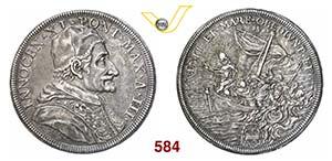 INNOCENZO XI  (1676-1689)  Piastra A. III, ...