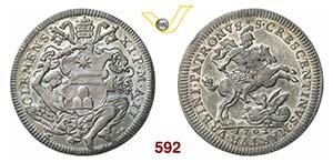 CLEMENTE XI  (1700-1721)  Mezza Piastra 1702 ...