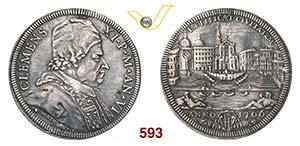 CLEMENTE XI  (1700-1721)  Mezza Piastra 1706 ...