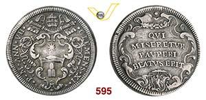 CLEMENTE XI  (1700-1721)  Testone A. VII, ...