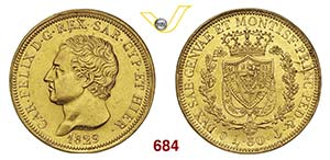 CARLO FELICE  (1821-1831)  80 Lire 1829 ...