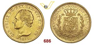 CARLO FELICE  (1821-1831)  80 Lire 1830 ...