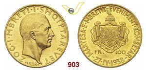 ALBANIA  ZOG I, Re  (1928-1938)  100 Franga ...