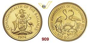 BAHAMAS      100 Dollari 1974,   Fb. 22   Au ...
