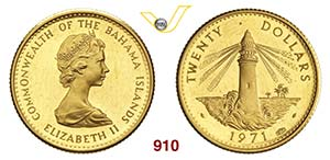 BAHAMAS  ELISABETTA II    20 Dolari 1971.   ...
