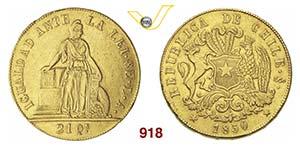 CILE      8 Escudos 1850.   Fb. 41   Au   g ...