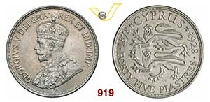 CIPRO  GIORGIO V  (1910-1936)  45 Piastre ...