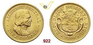 COSTA RICA      10 Colones 1900.   Fb. 20   ...
