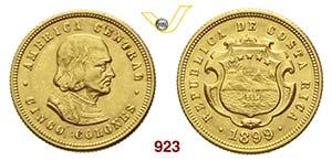 COSTA RICA      5 Colones 1899.   Fb. 21   ...