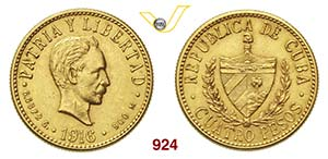 CUBA      4 Pesos 1916.   Fb. 5   Au   g ...