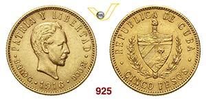 CUBA      5 Pesos 1916.   Fb. 4   Au   g ...