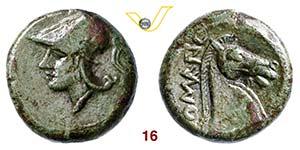 ANONIME  (260 a.C.)  Litra.  D/ Testa elmata ...