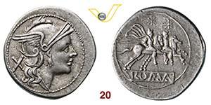 ANONIME  (dopo il 211 a.C.)  Denario.   B. 2 ...