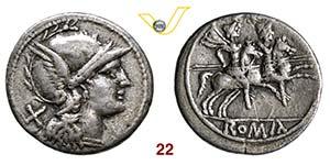 ANONIME  (dopo il 211 a.C.)  Denario.   Syd. ...