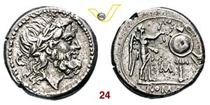 ANONIME  (211-208 a.C.)  Vittoriato, lettera ...