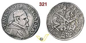 PAOLO V  (1605-1621)  Testone 1620, Ferrara. ...