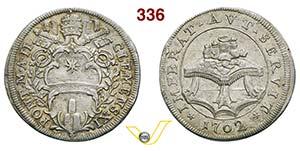CLEMENTE XI  (1700-1721)  Testone 1702 A. ...