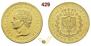 CARLO FELICE  (1821-1831)  80 Lire 1824 ...