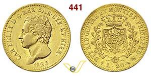 CARLO FELICE  (1821-1831)  20 Lire 1823 ...