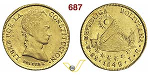 BOLIVIA      8 Escudos 1842 LR, Potosi.   ...