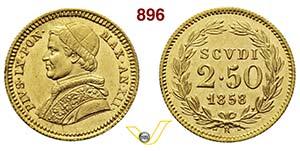 ROMA  PIO IX  (1846-1878)  2,5 Scudi 1858 ...