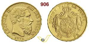 BELGIO  LEOPOLDO II    20 Franchi 1875.   Au ...