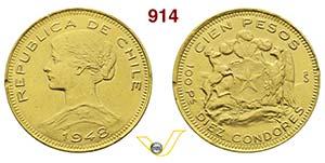 CILE  REPUBBLICA    100 Pesos 1948.   Au   g ...