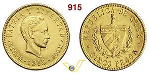 CUBA      5 Pesos 1915.   Kr. 19   Fb. 4   ...