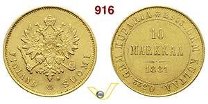 FINLANDIA      10 Markkaa 1881.   Kr. 8.2   ...