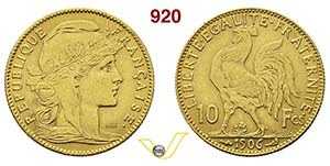 FRANCIA      10 Franchi 1906.   Fb. 509   Au ...