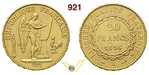 FRANCIA      20 Franchi 1896 A, Parigi.   ...