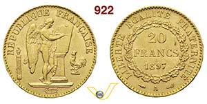 FRANCIA      20 Franchi 1897 A, Parigi.   ...