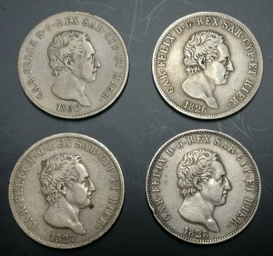 CARLO FELICE  (1821-1831)  5 Lire 1826 ...
