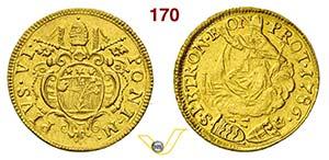 PIO VI  (1775-1799)  Doppio Zecchino 1786, ...