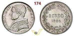 GREGORIO XVI  (1831-1846)  Scudo 1846 XVI, ...