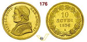 PIO IX  (1846-1878)  10 Scudi 1856 XI, Roma. ...