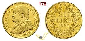 PIO IX  (1846-1878)  20 Lire 1868 XXII, Roma ...