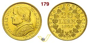 PIO IX  (1846-1878)  20 Lire 1869 XXIV, Roma ...