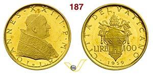 GIOVANNI XXIII  (1958-1963)  100 Lire 1959 ...