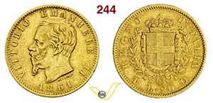 VITTORIO EMANUELE II  (1861-1878)  20 Lire ...
