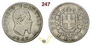 VITTORIO EMANUELE II  (1861-1878)  Lira 1867 ...
