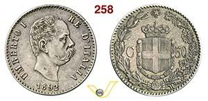 UMBERTO I  (1878-1900)  50 Centesimi 1892 ...