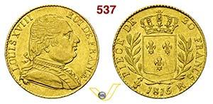 FRANCIA - LUIGI XVIII  (1814-1824)  20 ...