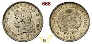 ARGENTINA - REPUBBLICA    20 Centavos 1883.  ...