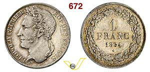 BELGIO - LEOPOLDO I  (1831-1865)  1 Franco ...