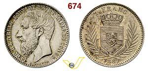 BELGIO - LEOPOLDO II  (1865-1909)  1 Franco ...
